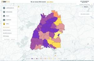 Der Baden-Württemberg-Atlas der Stuttgarter Zeitung ist ein aufwendig produziertes, interaktives Datenprojekt. Die Nutzer können Zahlen zu fünf Themen nach Landkreisen geordnet abrufen. Außerdem ist es möglich, Entwicklungen mehrere Jahre zurückzuverfolgen.
