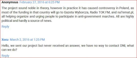 Kritische Kommentare auf der DNI-Website / Screenshot DNI